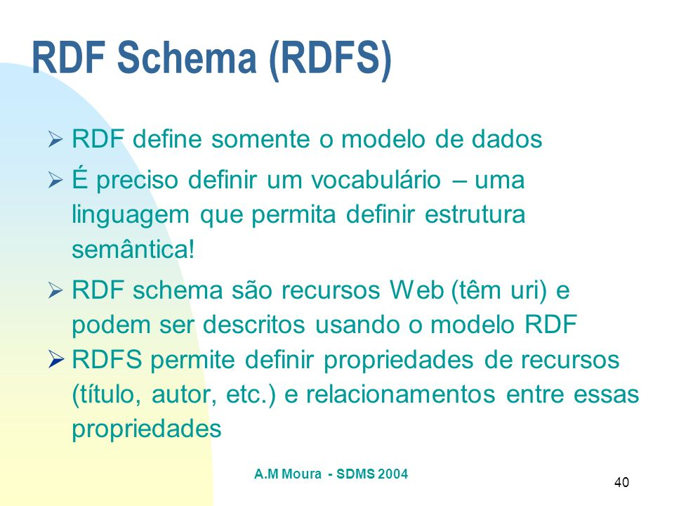 RDF Schema (RDFS) RDF define somente o modelo de dados