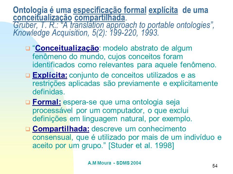 Ontologia é uma especificação formal explícita de uma conceitualização compartilhada. Gruber, T. R.: A translation approach to portable ontologies , Knowledge Acquisition, 5(2): 199-220, 1993.