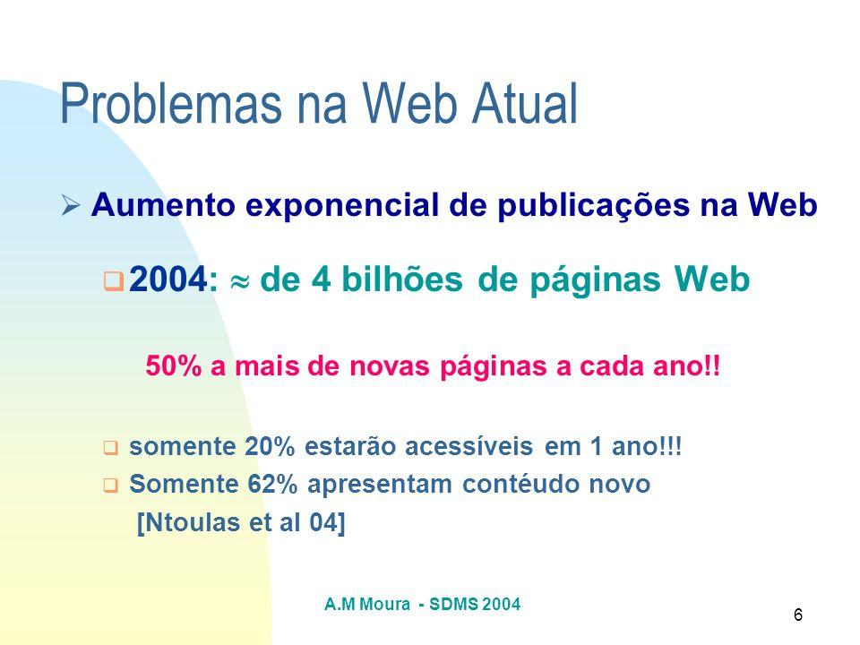 Problemas na Web Atual 2004:  de 4 bilhões de páginas Web