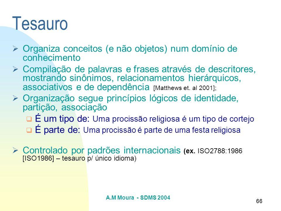 Tesauro Organiza conceitos (e não objetos) num domínio de conhecimento