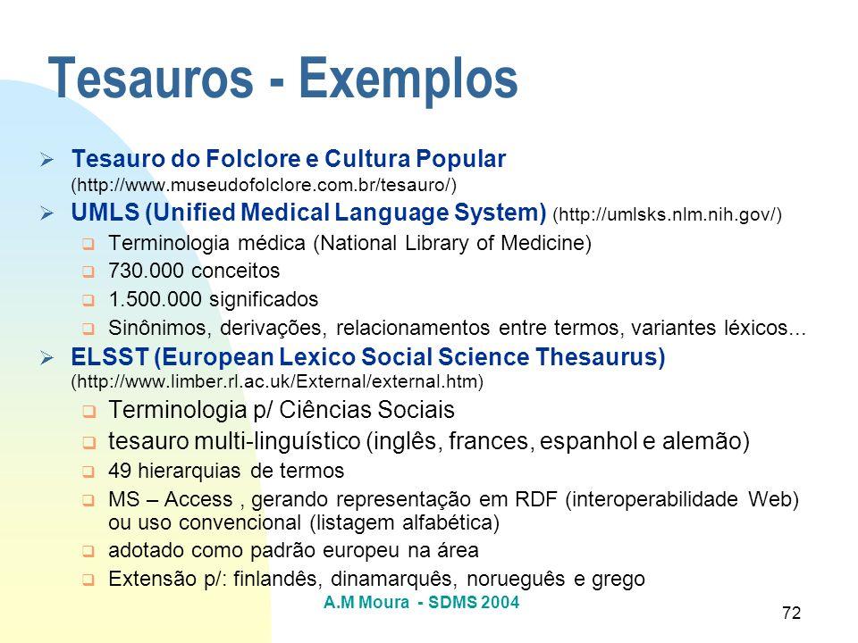Tesauros - Exemplos Tesauro do Folclore e Cultura Popular (http://www.museudofolclore.com.br/tesauro/)