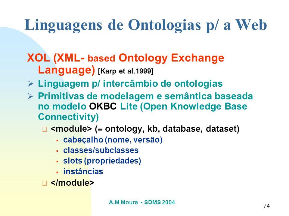 Linguagens de Ontologias p/ a Web