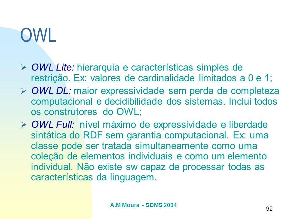 OWL OWL Lite: hierarquia e características simples de restrição. Ex: valores de cardinalidade limitados a 0 e 1;