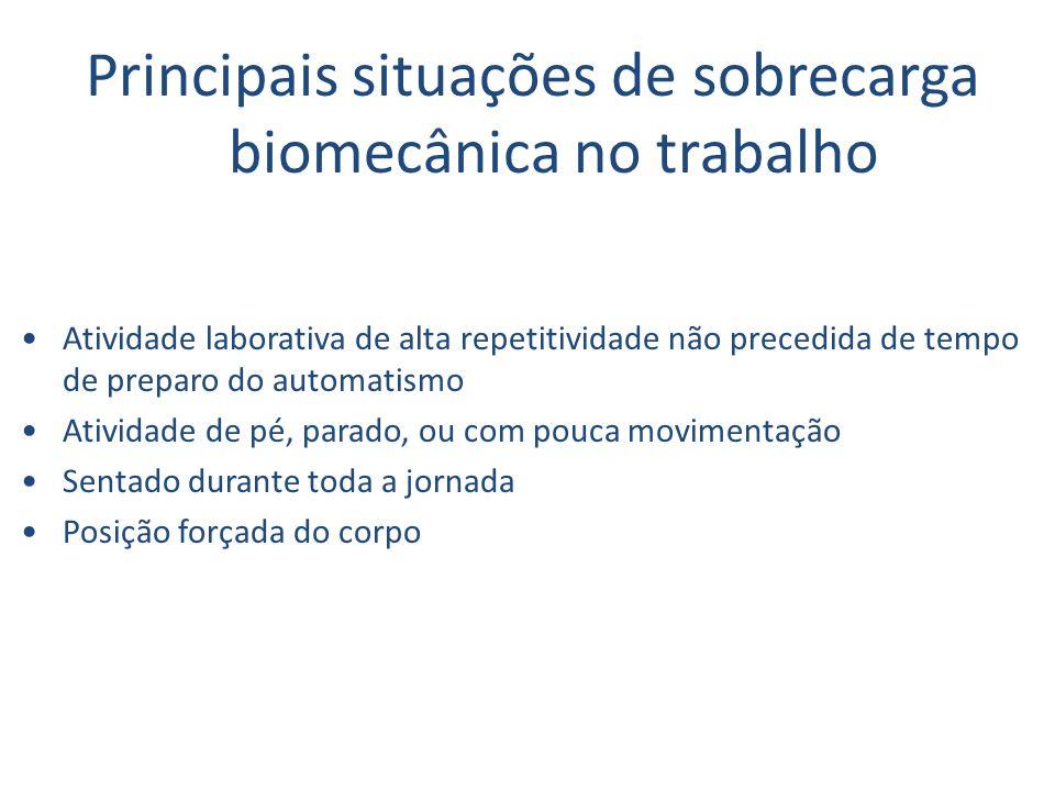 Principais situações de sobrecarga biomecânica no trabalho