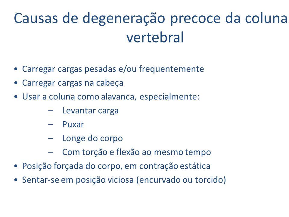 Causas de degeneração precoce da coluna vertebral