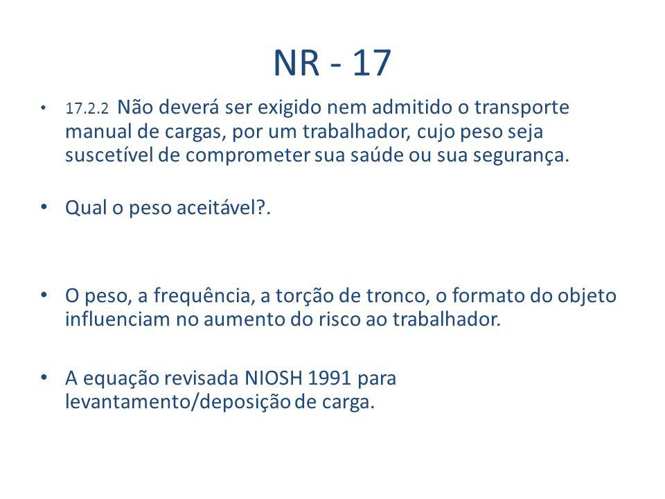 NR - 17 Qual o peso aceitável .