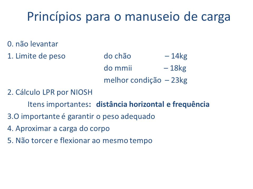 Princípios para o manuseio de carga