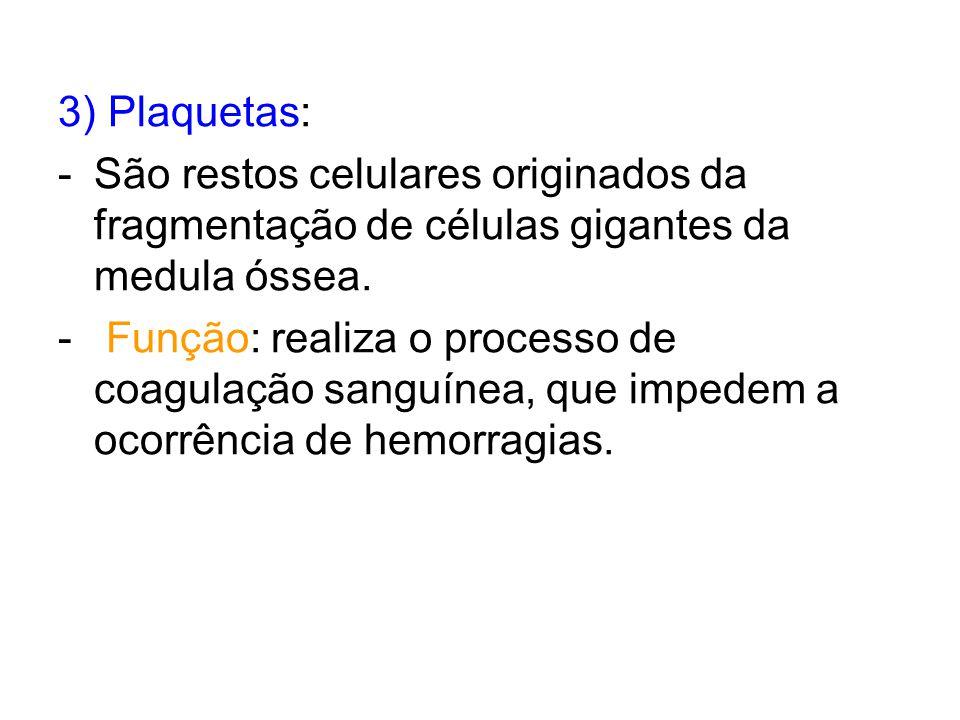 3) Plaquetas: São restos celulares originados da fragmentação de células gigantes da medula óssea.