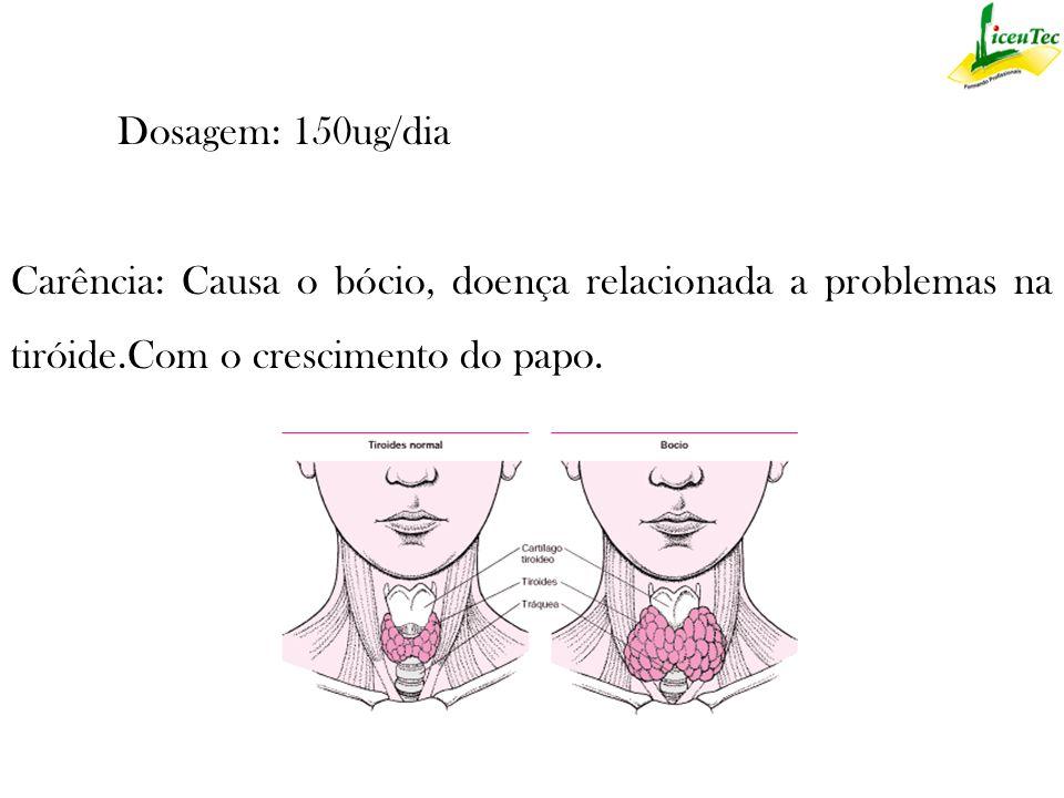 Dosagem: 150ug/dia Carência: Causa o bócio, doença relacionada a problemas na tiróide.Com o crescimento do papo.