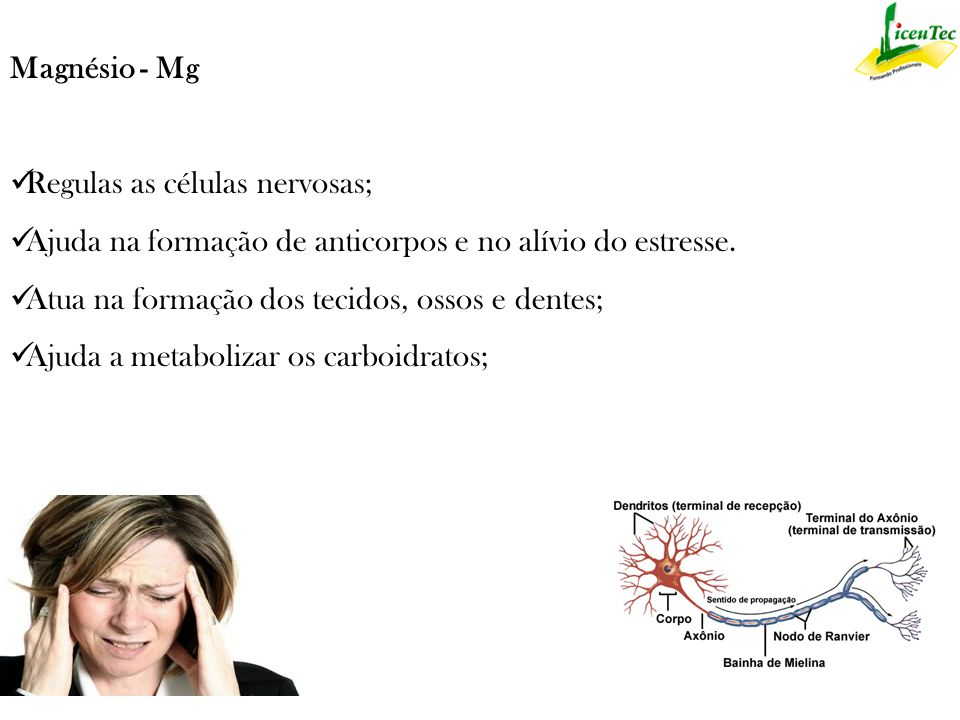 Magnésio - Mg Regulas as células nervosas; Ajuda na formação de anticorpos e no alívio do estresse.