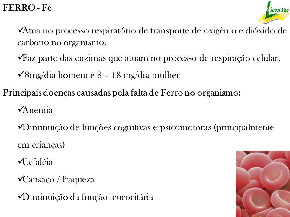 FERRO - Fe Atua no processo respiratório de transporte de oxigênio e dióxido de carbono no organismo.