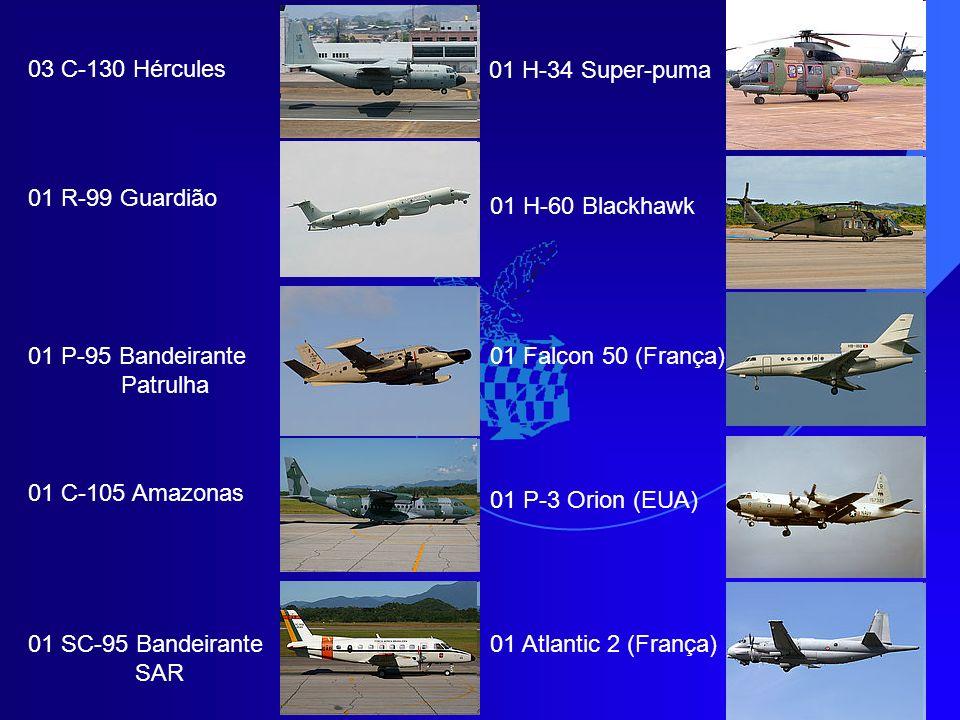 03 C-130 Hércules 01 H-34 Super-puma. 01 R-99 Guardião. 01 H-60 Blackhawk. 01 P-95 Bandeirante. Patrulha.