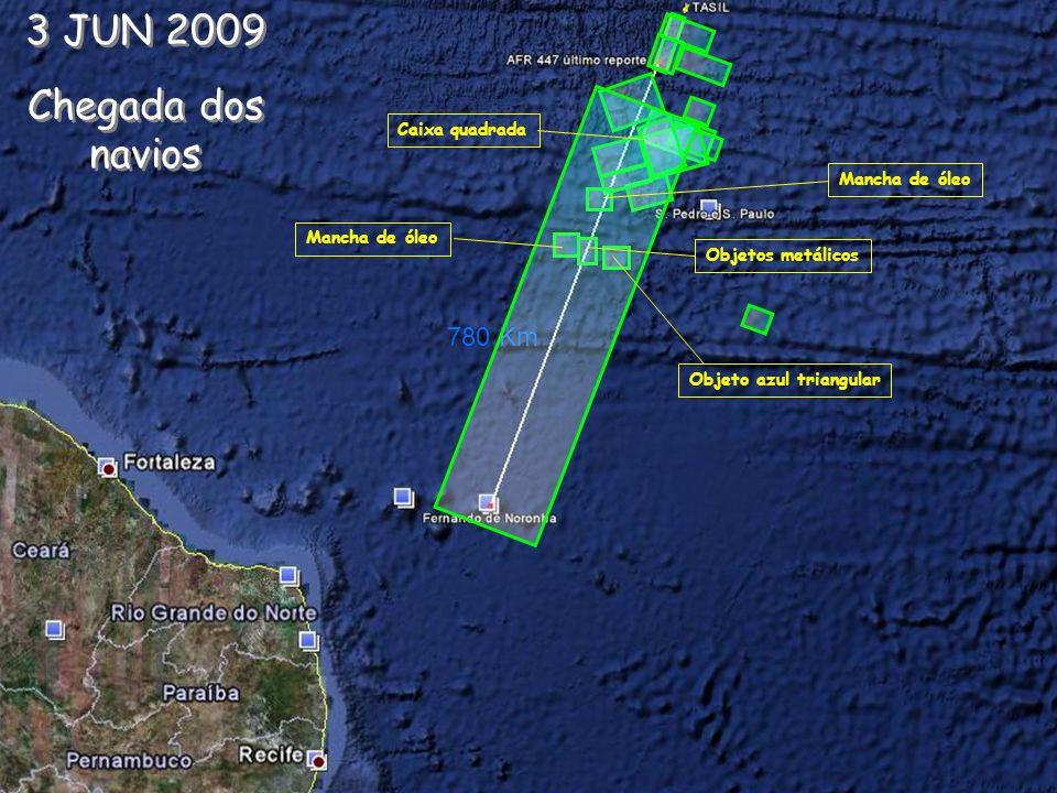 3 JUN 2009 Chegada dos navios 780 Km Caixa quadrada Mancha de óleo