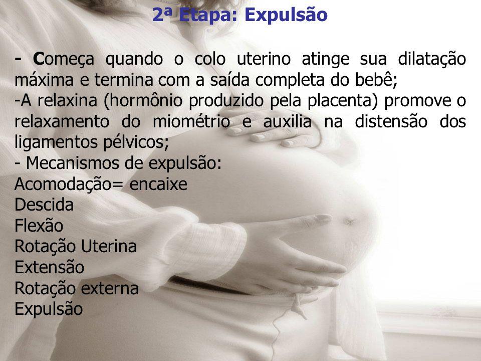 2ª Etapa: Expulsão - Começa quando o colo uterino atinge sua dilatação máxima e termina com a saída completa do bebê;