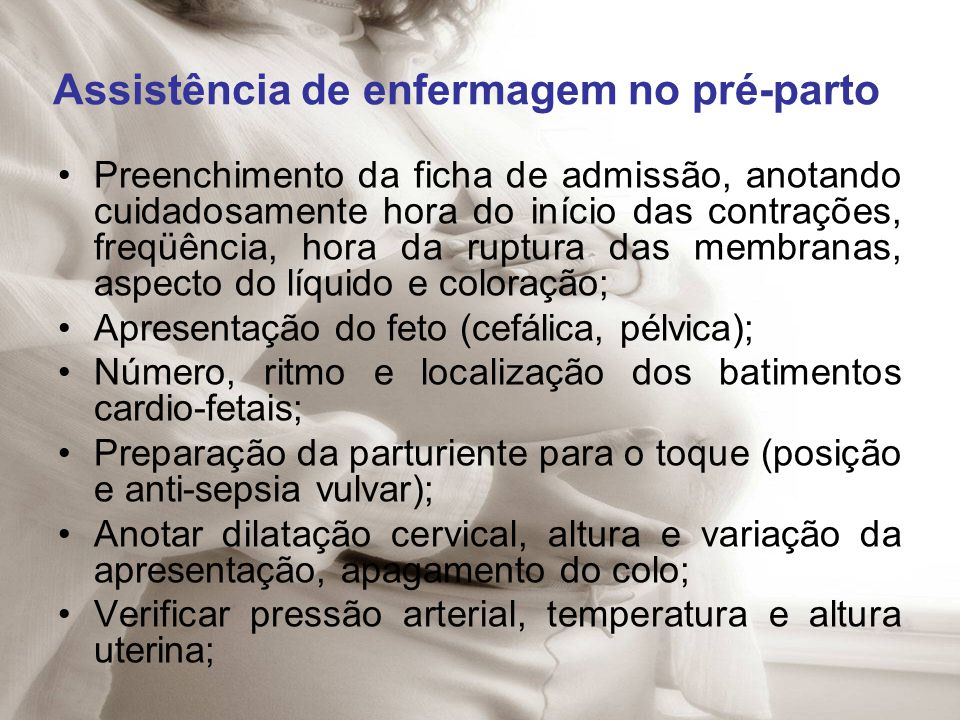Assistência de enfermagem no pré-parto