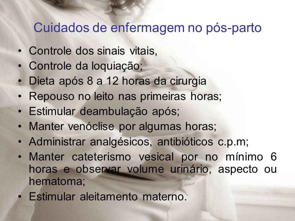 Cuidados de enfermagem no pós-parto