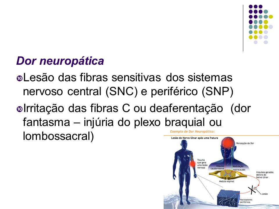 Dor neuropática Lesão das fibras sensitivas dos sistemas nervoso central (SNC) e periférico (SNP)