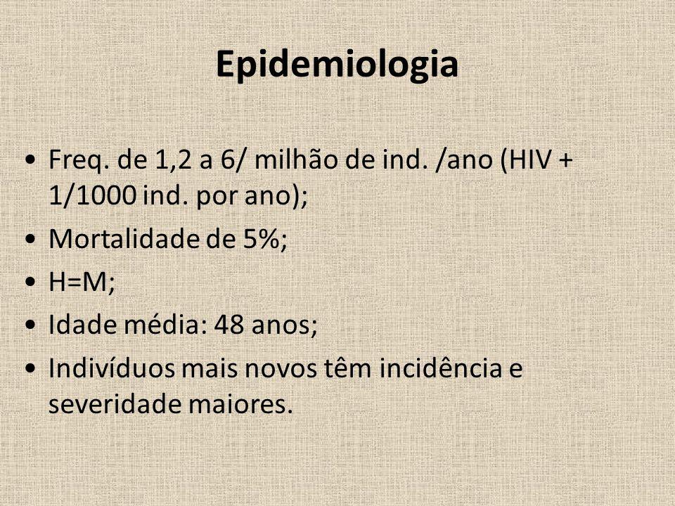 Epidemiologia Freq. de 1,2 a 6/ milhão de ind. /ano (HIV + 1/1000 ind. por ano); Mortalidade de 5%;