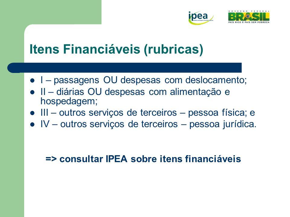 Itens Financiáveis (rubricas)
