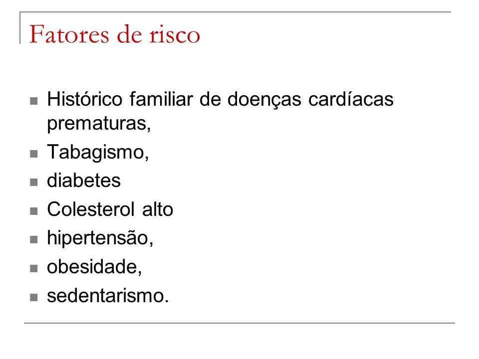 Fatores de risco Histórico familiar de doenças cardíacas prematuras,