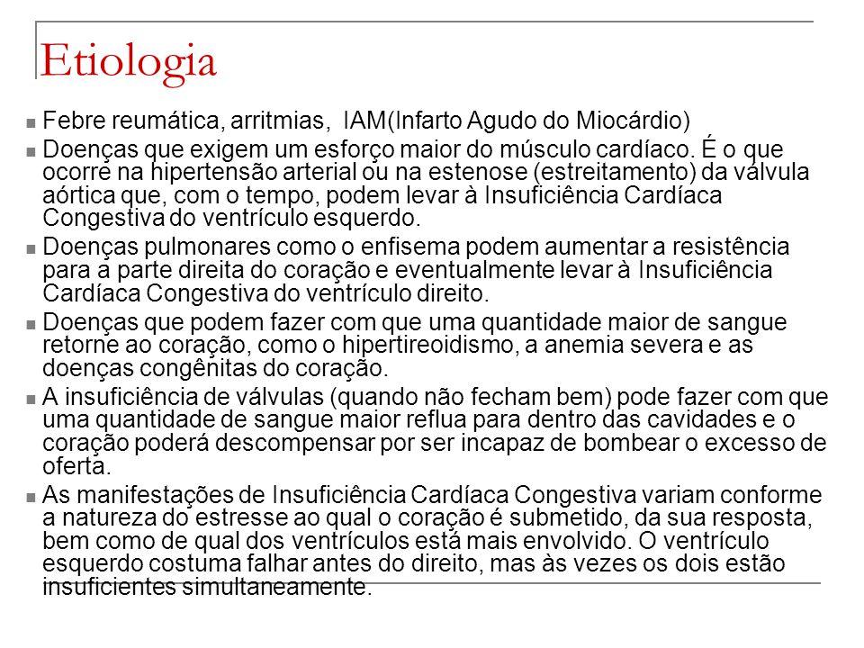 Etiologia Febre reumática, arritmias, IAM(Infarto Agudo do Miocárdio)