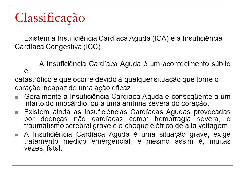 Classificação Existem a Insuficiência Cardíaca Aguda (ICA) e a Insuficiência. Cardíaca Congestiva (ICC).