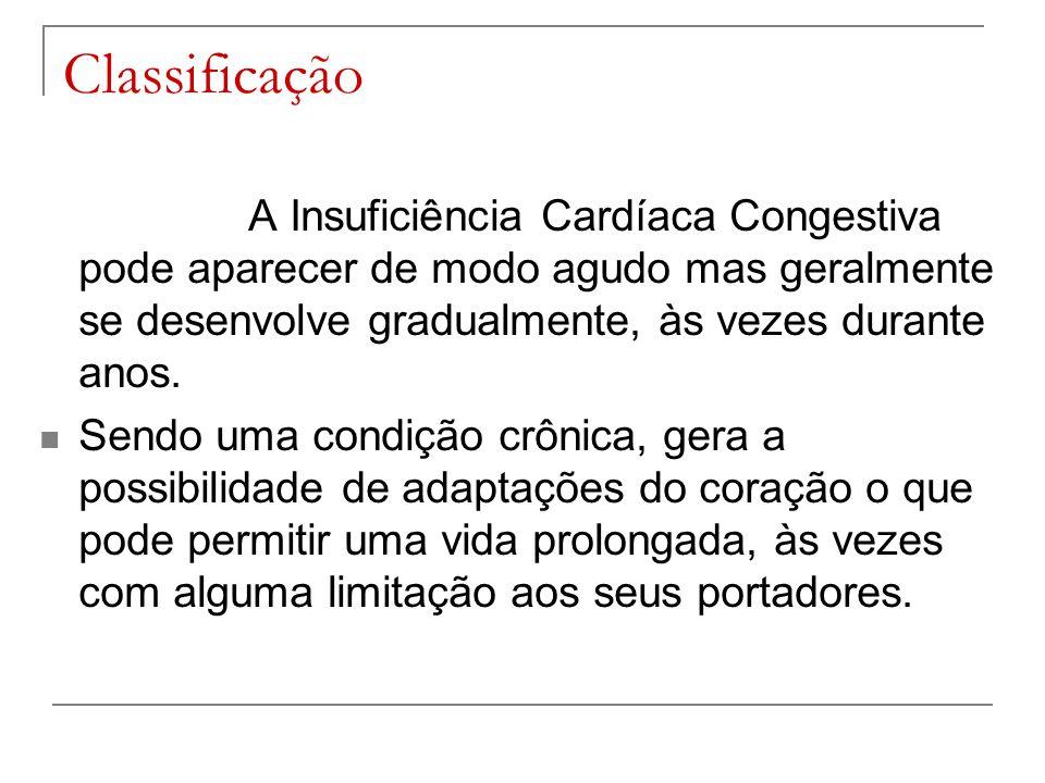 Classificação A Insuficiência Cardíaca Congestiva pode aparecer de modo agudo mas geralmente se desenvolve gradualmente, às vezes durante anos.