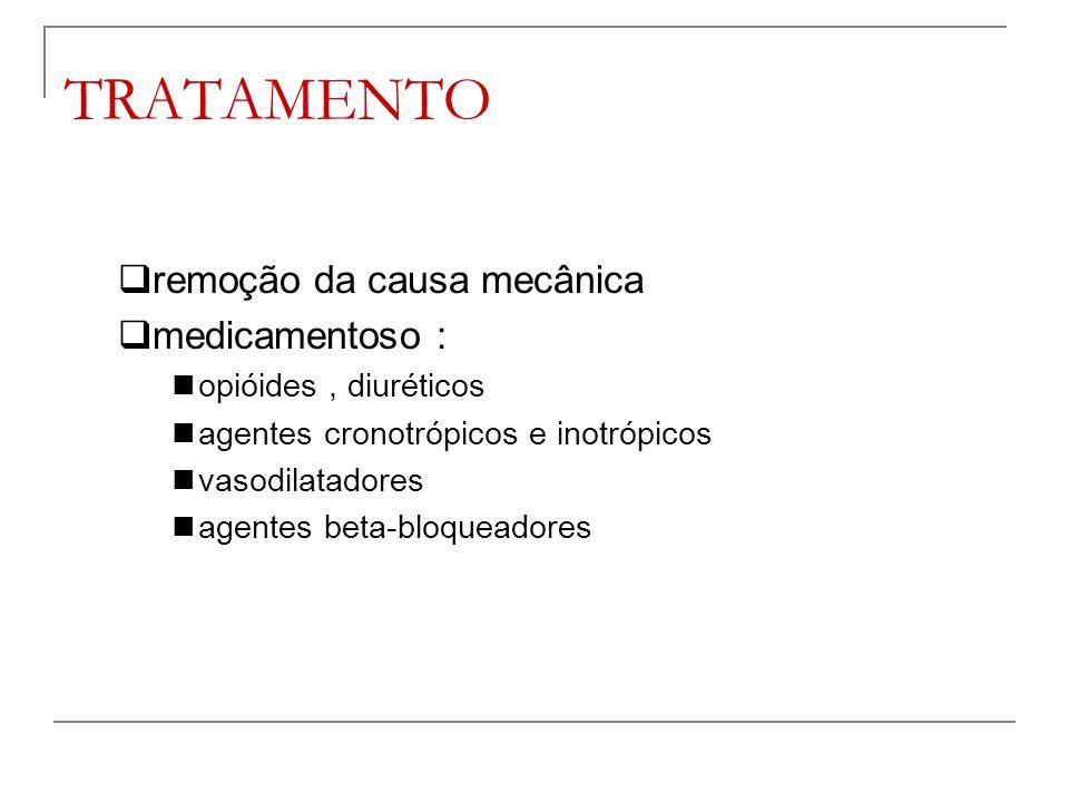 TRATAMENTO remoção da causa mecânica medicamentoso :