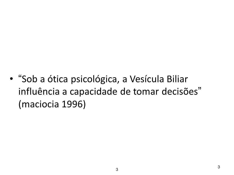 Sob a ótica psicológica, a Vesícula Biliar influência a capacidade de tomar decisões (maciocia 1996)