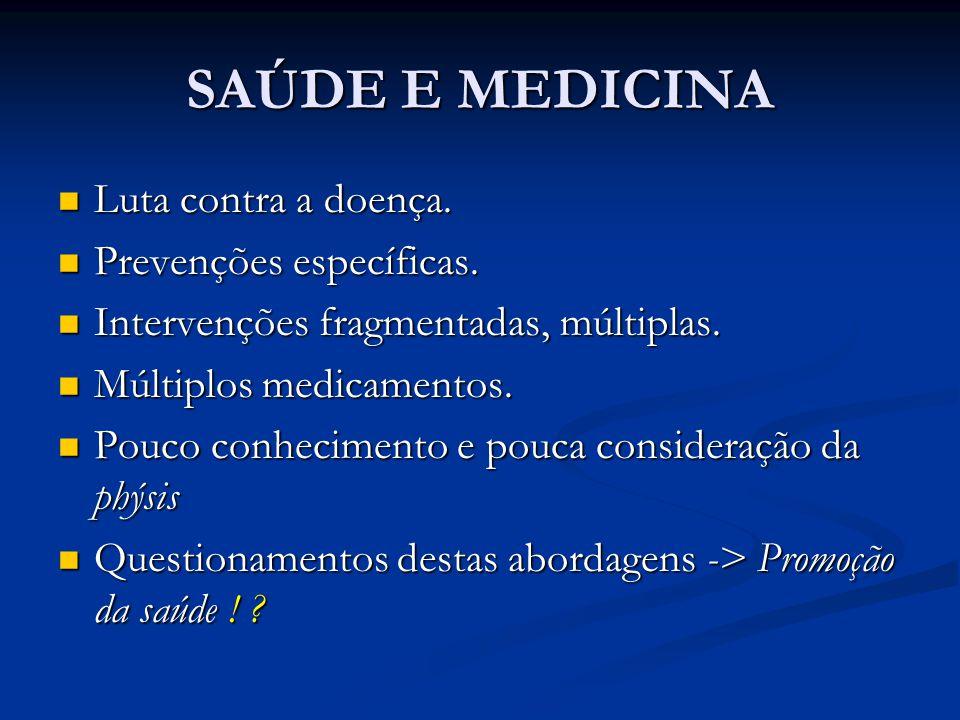 SAÚDE E MEDICINA Luta contra a doença. Prevenções específicas.