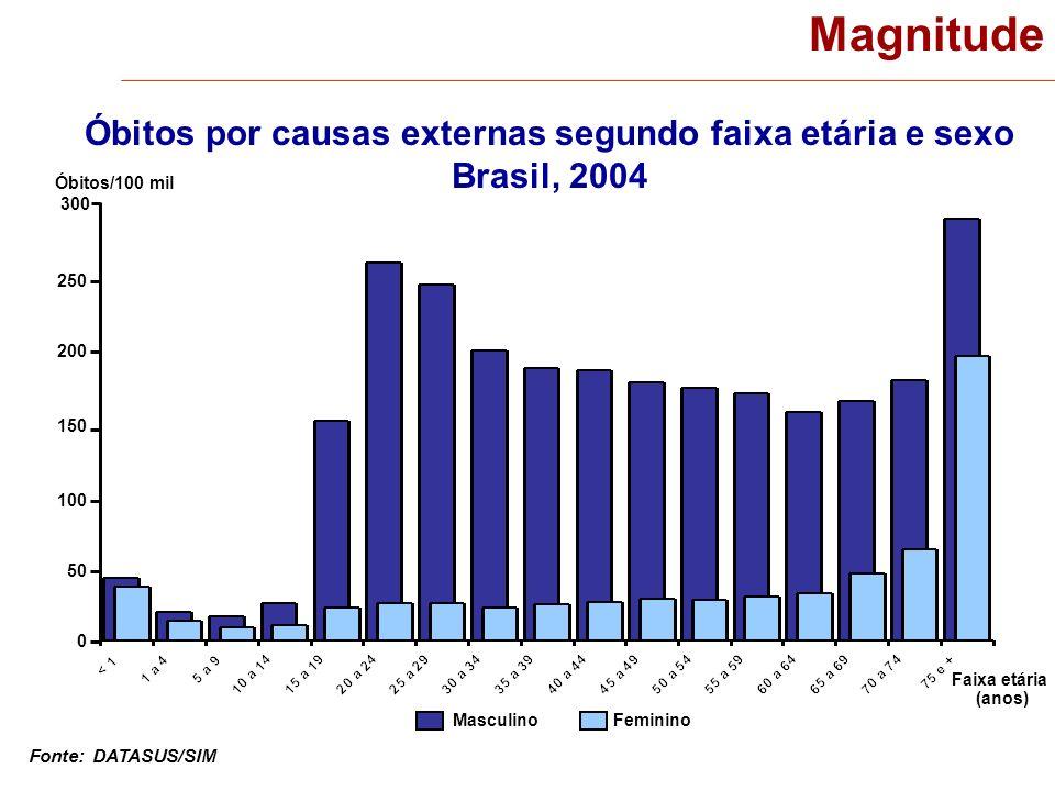 Óbitos por causas externas segundo faixa etária e sexo Brasil, 2004