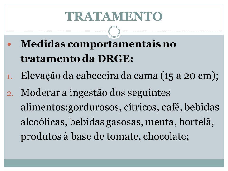 TRATAMENTO Medidas comportamentais no tratamento da DRGE: