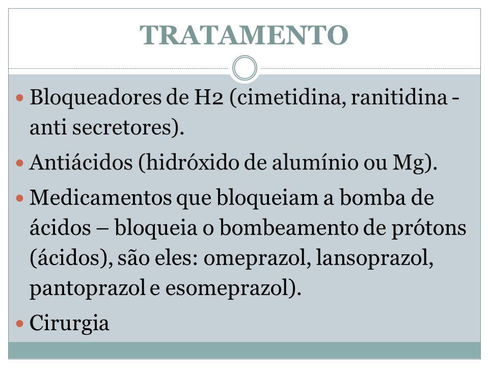 TRATAMENTO Bloqueadores de H2 (cimetidina, ranitidina - anti secretores). Antiácidos (hidróxido de alumínio ou Mg).