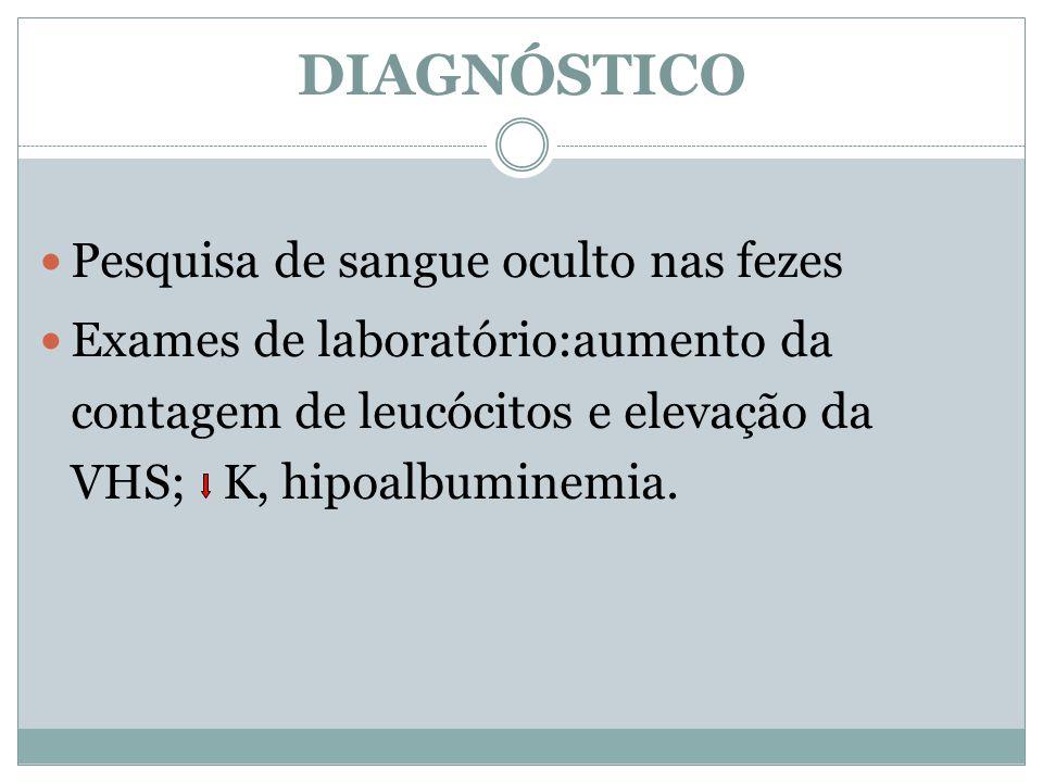 DIAGNÓSTICO Pesquisa de sangue oculto nas fezes