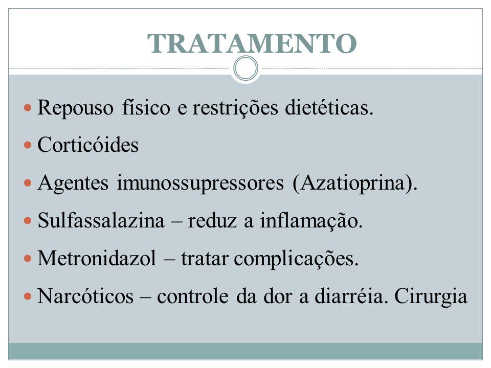 TRATAMENTO Repouso físico e restrições dietéticas. Corticóides