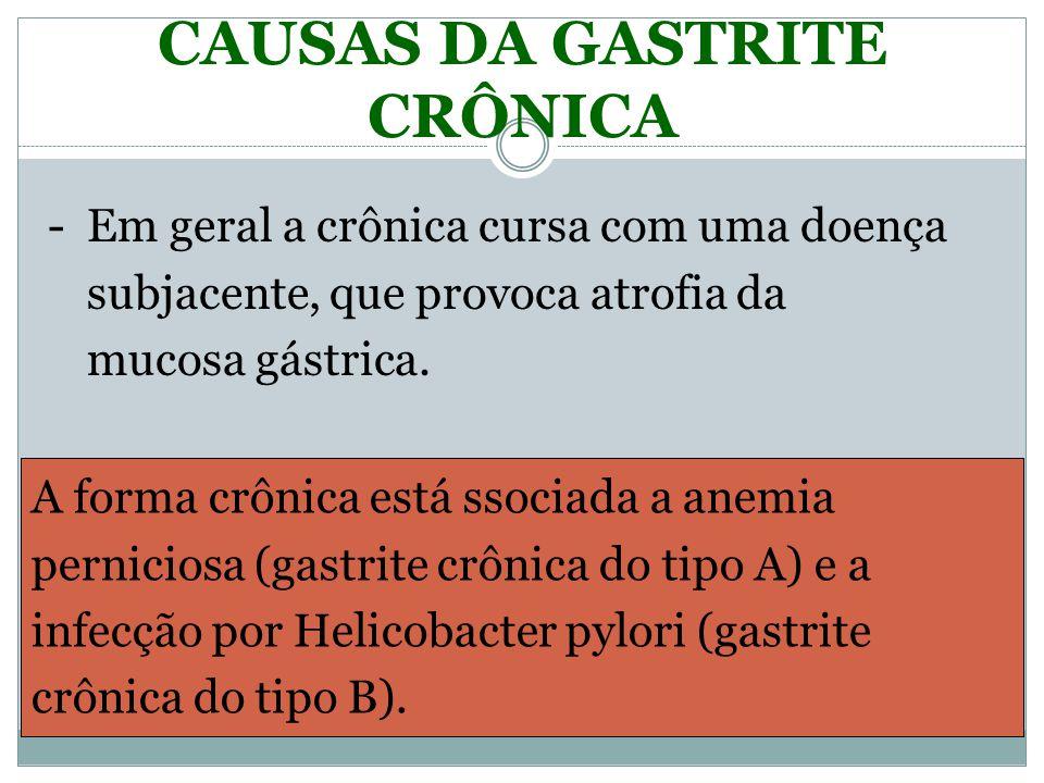 CAUSAS DA GASTRITE CRÔNICA