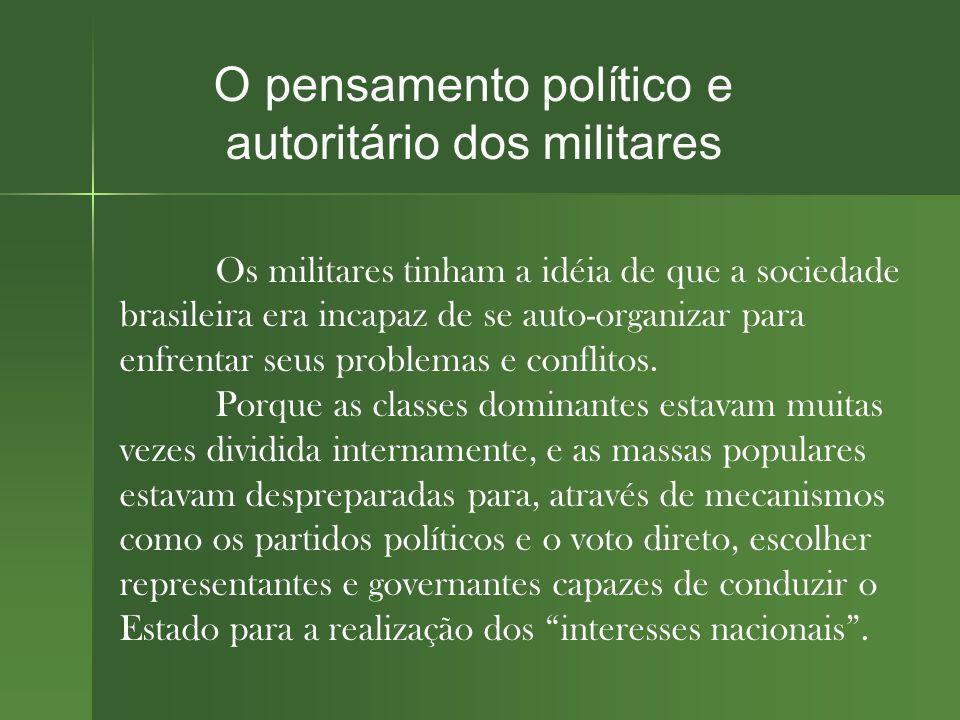 O pensamento político e autoritário dos militares