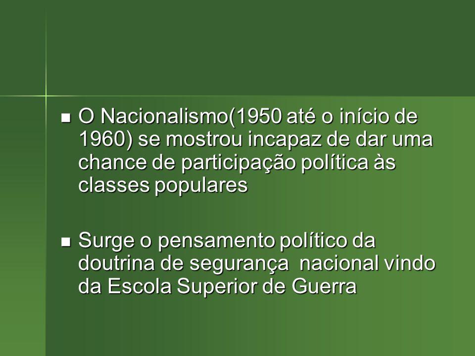 O Nacionalismo(1950 até o início de 1960) se mostrou incapaz de dar uma chance de participação política às classes populares