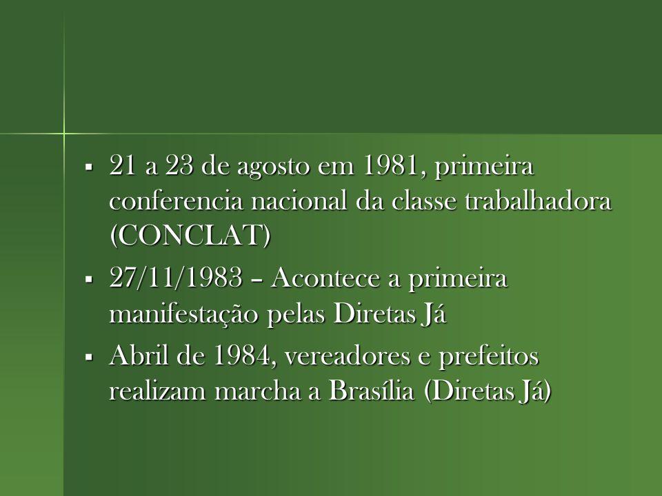 21 a 23 de agosto em 1981, primeira conferencia nacional da classe trabalhadora (CONCLAT)