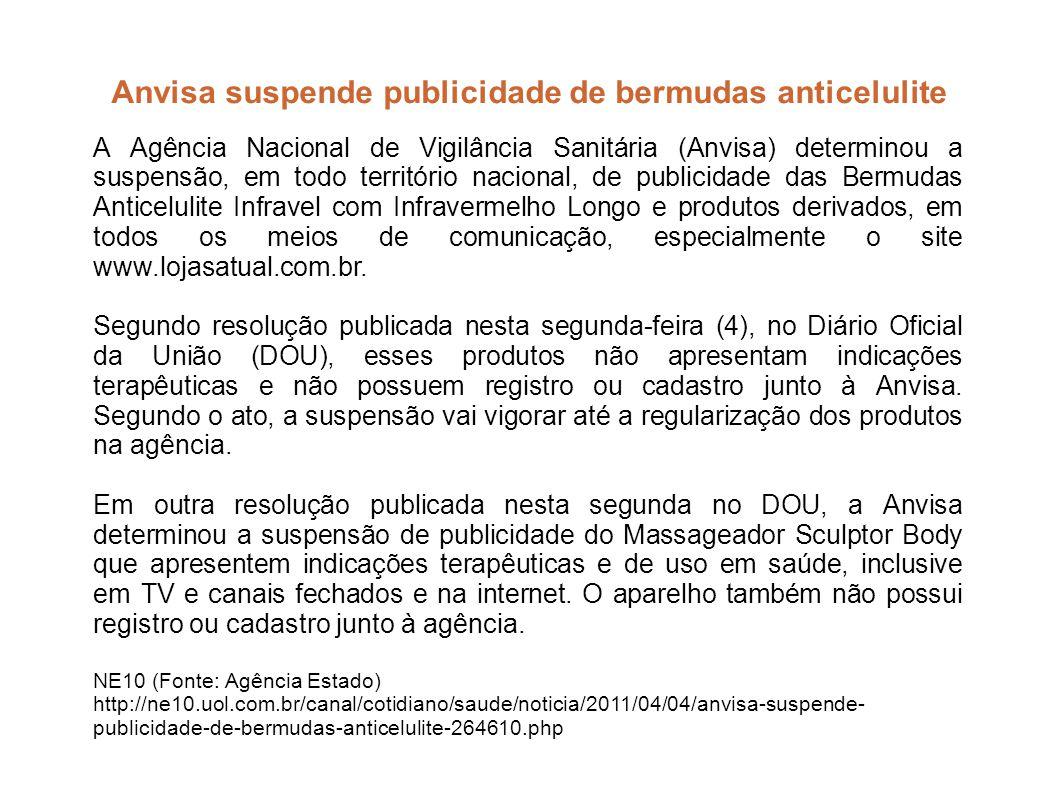 Anvisa suspende publicidade de bermudas anticelulite