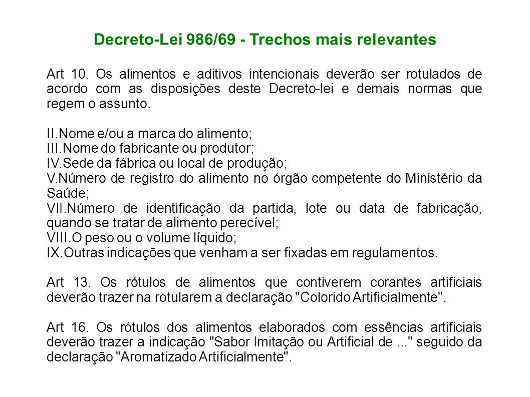 Decreto-Lei 986/69 - Trechos mais relevantes