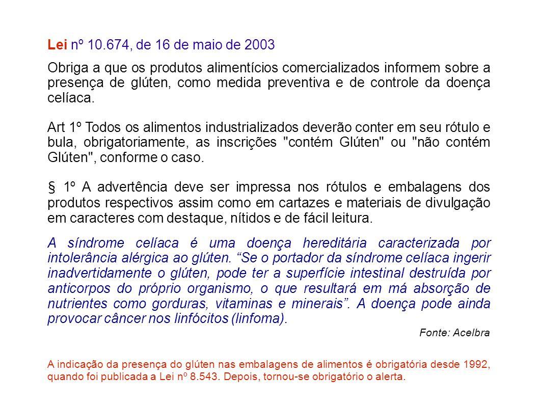 Lei nº 10.674, de 16 de maio de 2003