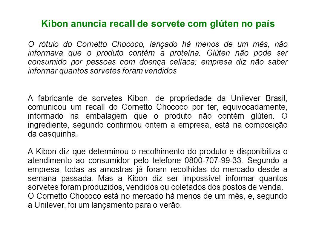 Kibon anuncia recall de sorvete com glúten no país