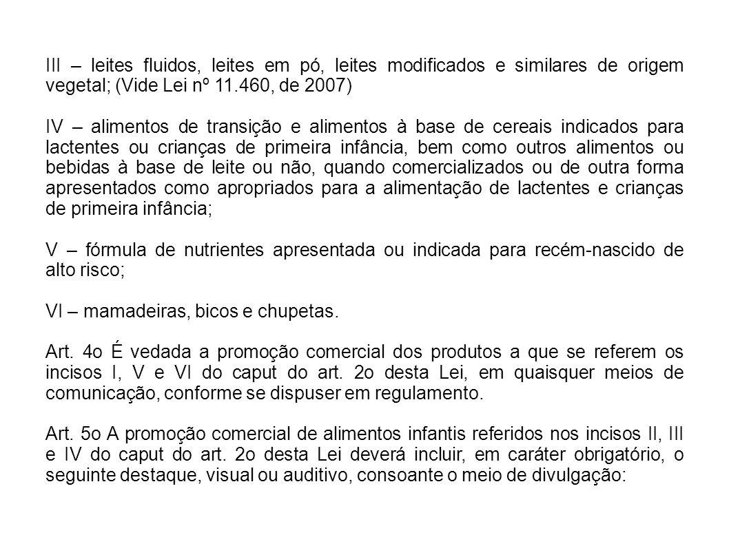 III – leites fluidos, leites em pó, leites modificados e similares de origem vegetal; (Vide Lei nº 11.460, de 2007)