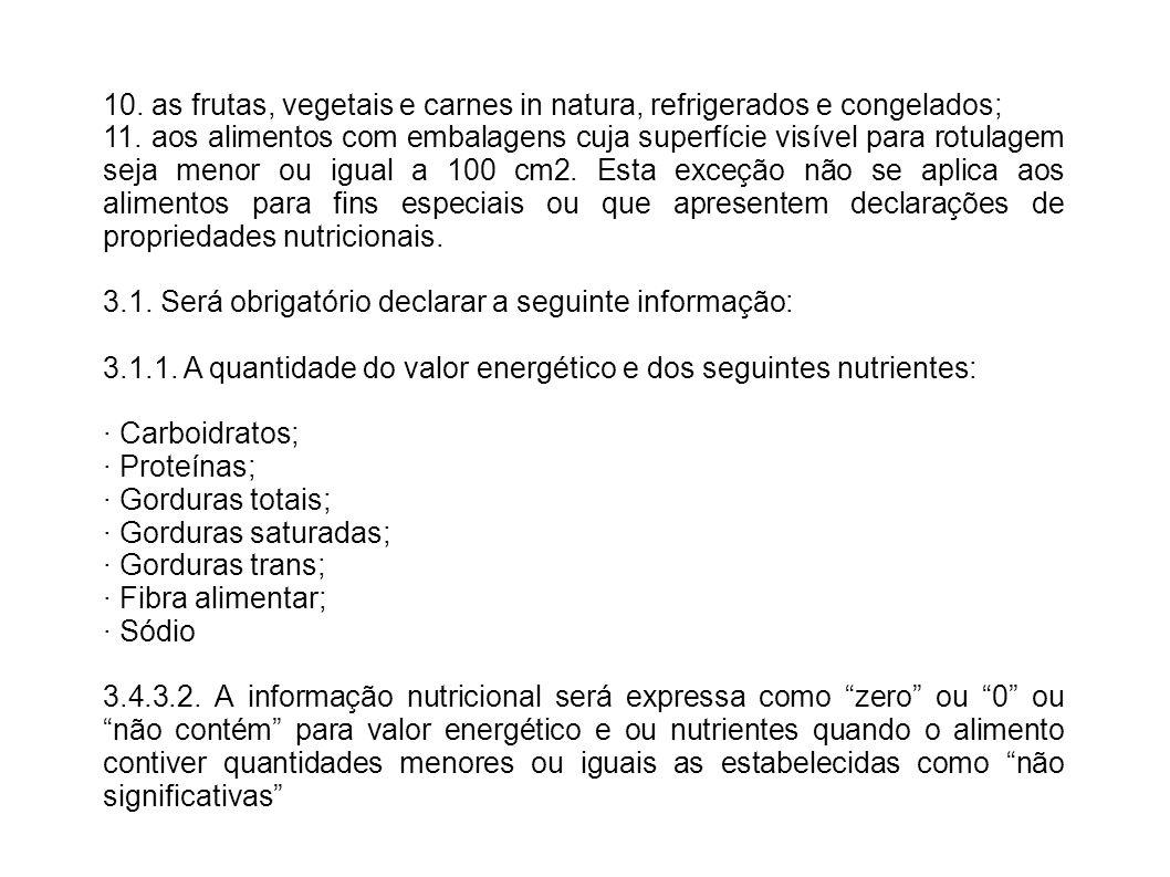 10. as frutas, vegetais e carnes in natura, refrigerados e congelados;