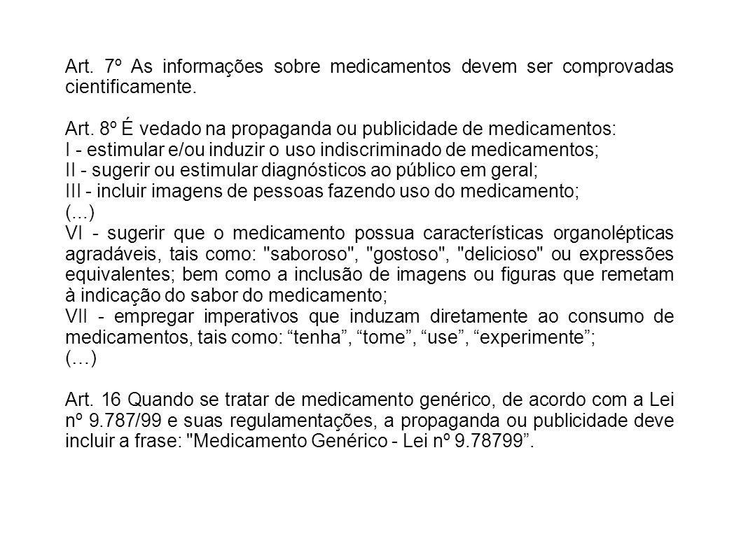 Art. 7º As informações sobre medicamentos devem ser comprovadas cientificamente.