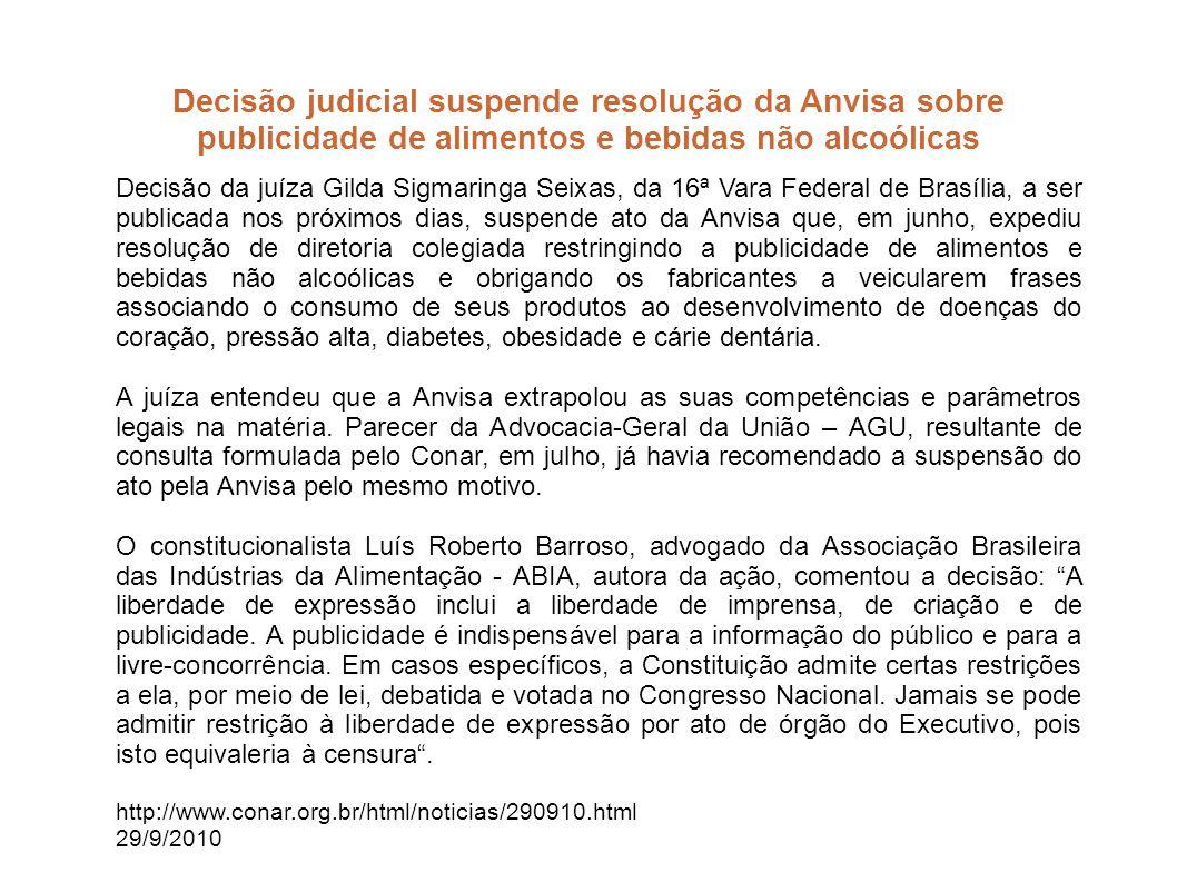 Decisão judicial suspende resolução da Anvisa sobre publicidade de alimentos e bebidas não alcoólicas