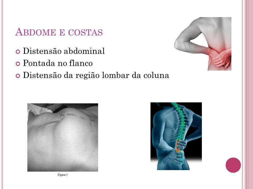 Abdome e costas Distensão abdominal Pontada no flanco