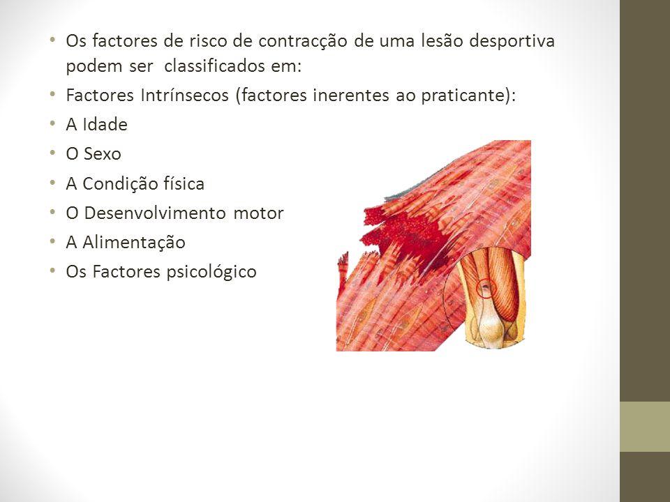Os factores de risco de contracção de uma lesão desportiva podem ser classificados em: