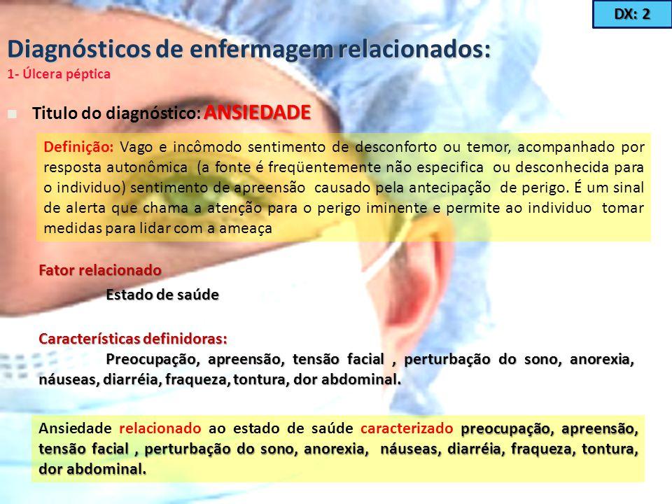 Diagnósticos de enfermagem relacionados: 1- Úlcera péptica